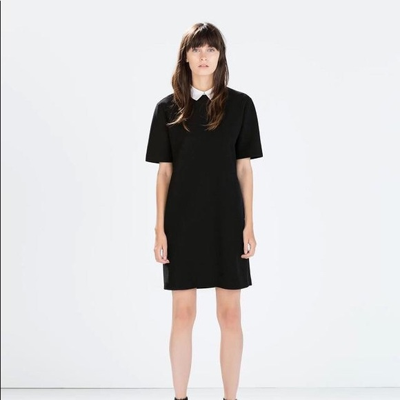 c8732abd Zara Dresses | Black And White Collared Short Sleeve Mini | Poshmark